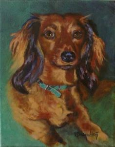 DACHSHUND pet portrait, oil painting of long haired red Dachshund Doxie -- Vernita Bridges Hoyt