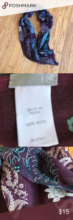 J.Jill Scarf Pretty burgundy pattern scarf never used perfect condition J. Jill Accessories Scarves & Wraps