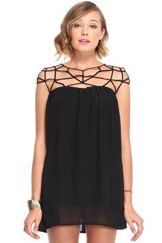 Grid Cut-out Black Dress