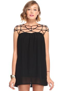Grid Cut-out Black Dress