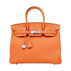 Hermes Birkin 35 Bag Classic H Orange Togo Palladium Rare Retired Colour 1