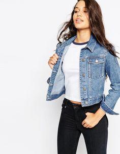 ASOS – Jeansjacke im Western-Stil mit mittlerer Vintage-Waschung und Rissen