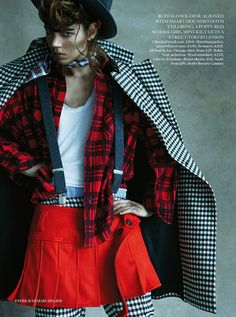 Freja Beha in Layered Grunge Punk look #fall2013 #trend at Vogue UK August 2013 #fashion #editorial