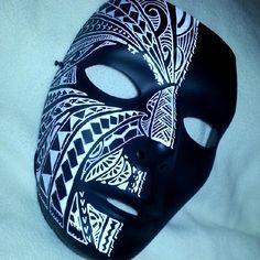 Polynesian (South) Pacific Chamorro Maori Hawaiian tribal mask Helmet Design, Mask Design, Raven Mask, Fallout Concept Art, Black Paper Drawing, Venice Mask, Mask Painting, Hawaiian Tribal, Half Face Mask