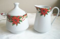 Vintage Christmas Poinsettia  Porcelain Cream and by naturepoet