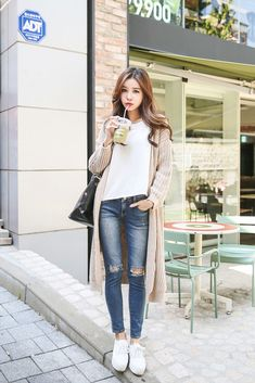 Fitted Long Knit Cardigan
