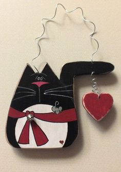 Tole Painted Wood Black Tuxedo Cat with Heart Ornament and Magnet