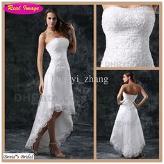 Wholesale Beach A Line Wedding Dresses Bridal Gowns Strapless Beaded Lace Appiques Tulle Hi Lo High Low 1142, Free shipping, $112.0~128.8/Piece | DHgate Mobile