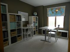 homeschool room  --  homeschool classroom with flexible seating, lots of storage and roller map window shade home school room home school class room