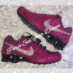 Nike Shox Shoes, Pink Nike Shoes, Pink Nikes, Nike Shoes Outlet, Nike Sneakers, Zapatos Bling Bling, Bling Shoes, Sparkly Shoes, Glitter Shoes
