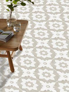 Vinyl Floor Tile Sticker - Floor decals - Carreaux Ciment Encaustic Campagne Tile Sticker Pack in Sand