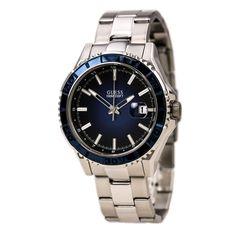 Guess U0244G4 Men's Sports Blue Dial Stainless Steel Bracelet Watch,