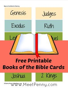 FREE Books of the Bible Printable Cards from Meet Penny | Bible Based Homeschooling