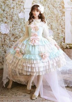 Special Style - Dragon Tea Lolita Gorgeous Style JSK by This Time Harajuku Fashion, Kawaii Fashion, Cute Fashion, Kawaii Dress, Kawaii Clothes, Mode Outfits, Fashion Outfits, Lolita Mode, Lolita Style