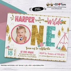 Wild one girl birthday Photo invitation Pink Teal Gold invitation Girls teepee Birthday invitation Printable Boho invitations floral invitation - Personalized Invite card DIY party printables will save you time and money while making your planning a snap!
