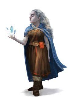 Female Artic Halfling Sorcerer or Wizard - Pathfinder PFRPG DND D&D d20 fantasy
