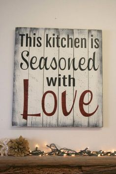 This Kitchen Is Seasoned With Love Pallet Sign Wood Kitchen Sign Kitchen Wall Art Distressed Wood Sign Shabby Chic Wall Art Vintage Wood - Wood kitchen signs, Kitchen signs, Shabby chic wall art, Pall - Pallet Crafts, Pallet Art, Wood Crafts, Diy Pallet, Diy Wood, Rustic Wood, Rustic Chic, Wood Kitchen Signs, Kitchen Wall Art