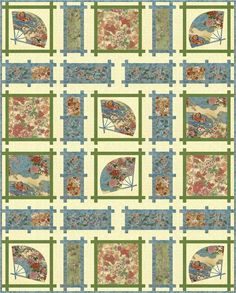 = free pattern =  Kotori fans quilt by Denise M. Russart for Hoffman California Fabrics