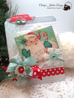 cottage christmas card-AQUA RED by cherrysjubileecards on Etsy