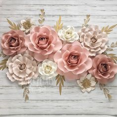 Nursery Wall Art - Nursery Girl Decor - Paper Flowers Wall Art - Paper Flowers for Baby Girl (code: Paper Flowers Roses, Paper Flower Decor, Paper Flower Backdrop, Giant Paper Flowers, Flower Wall Decor, Small Flowers, Flower Decorations, 12 Roses, Floral Nursery