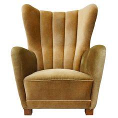 danish mid-century channelled back armchair upholstered in goldish mohair - denmark - 1940s