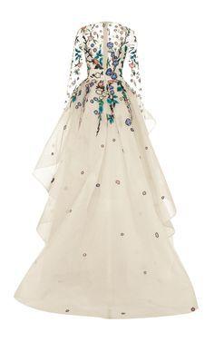Monique Lhuillier Long Sleeve Embellished Gown (back) Evening Dresses, Prom Dresses, Formal Dresses, Wedding Dresses, Fashion Vestidos, Fashion Dresses, Monique Lhuillier, Ellie Saab, Embellished Gown