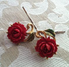 Decorative Red Celluloid Rose Hair Bobby Pins by WillowBloom Recycled Jewelry, Rose Hair, Love Rose, Bridal Hair Pins, Unique Vintage, Clip On Earrings, Red Roses, Bobby Pins, Vintage Jewelry