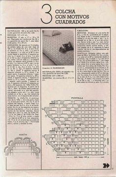 #452 Colcha con motivos cuadrados a Crochet