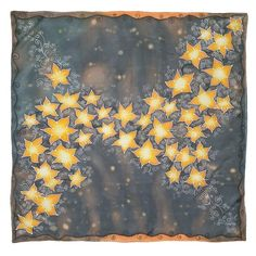 HANDPAINTED stars SILK SCARF, Pure Square women silk scarve, Painted black silk shawl with orange flowers, Unique birthday gift for wife Painted Silk, Hand Painted, Silk Painting, Stars, Trending Outfits, Unique Jewelry, Handmade Gifts, Prints, Etsy