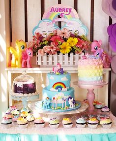Cake table from My Little Pony Pastel Birthday Party at Kara's Party Ideas. See more at karaspartyideas.com!