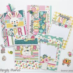 Hello Spring By Dorymar Perez! My Spring, Hello Spring, Hip Hop Hooray, Spring Projects, Binder Design, Bunch Of Flowers, Simple Stories, Cute Bunny, Pink Stripes