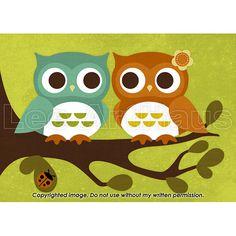 149R Retro Pair of Owls in Tree 5 x 7 Print