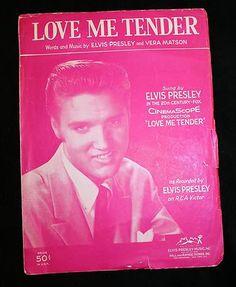 ELVIS PRESLEY 1956 Love Me Tender Song Sheet Music ROCK N ROLL Photo Cover