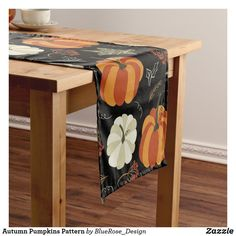 Autumn Pumpkins Pattern Short Table Runner Holiday Boutique, Tablerunners, Cloth Napkins, Fall Pumpkins, Thanksgiving Decorations, Patterned Shorts, Tablescapes, Keep It Cleaner, Table Settings