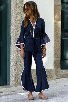 f310beaa5bb ZARA NAVY BLUE FLOWING JACKET WITH RUFFLED SLEEVES WITH BELT REF. 3018/295 #