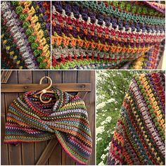 Ravelry: Stashbuster Blarf (Rectangular Shawl) pattern by Esther Sandrof Poncho Au Crochet, Mode Crochet, Crochet Shawls And Wraps, Knit Or Crochet, Crochet Scarves, Crochet Crafts, Crochet Clothes, Crochet Projects, Scrap Yarn Crochet