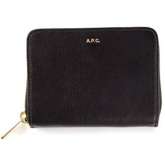 A.P.C. small wallet (415 CAD) ❤ liked on Polyvore featuring bags, wallets, accessories, pocket bag, zipper wallet, a.p.c., real leather wallet and leather zipper bag