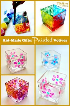 Kid made gifts: Painted votives - These kid made painted votives are so simple to make even a toddler can do it! They make wonderful gifts and look gorgeous displayed on windowsills and tables.