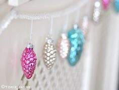 Berry pink pinecone decoration by Torie Jayne Beautiful Christmas Decorations, Magical Christmas, Christmas Fashion, Christmas And New Year, Christmas Holidays, Christmas Crafts, Shabby Chic Christmas, Vintage Christmas Ornaments, Pine Cone Decorations