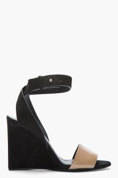 See By Chloe Taupe And Black Leather Wedges $155.00