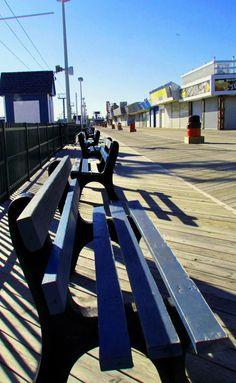 Empty Row Of Benches On Seaside Boardwalk|Love's Photo Album
