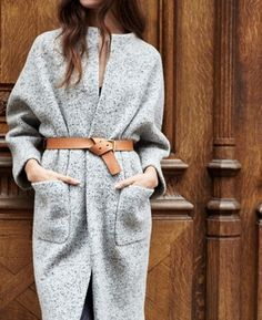 Belted Heather, women's fashion, grey coat.