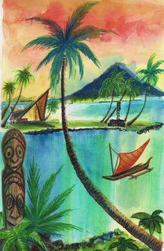Items similar to Tiki art print watercolor.Dawn Frasier on Etsy Tiki Art, Tiki Tiki, Polynesian Art, Jungle Art, Tiki Lounge, Vintage Tiki, Hawaiian Art, Tiki Room, Mid Century Art