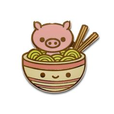 "Pig chan goes for a ramen adventure! 1.25"" x 1.1"" Hard enamel Rubber clutch backing"