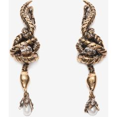 Alexander McQueen Skull Snake Earrings (12.404.745 VND) ❤ liked on Polyvore featuring jewelry, earrings, accessories, gold, alexander mcqueen, snake earrings, earring jewelry, logo earrings and snake jewelry