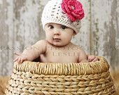 I Love this photo and the hat! Baby Girl Hat,  Newborn Crochet Hat, Flower  Hat- Crochet Knit Baby Hat, Photo Prop. $19.99, via Etsy.