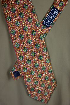 "BURBERRY Mens Silk Tie 4"" x 55"" Brownish Red Gold Abstract Print #Burberry #NeckTie"