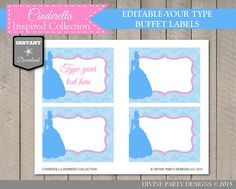 INSTANT DOWNLOAD Cinderella Inspired Editable Buffet / Food Lables by DivinePartyDesign. Birthday Party, Bridal Shower, Baby Shower Printables. Add your own text and print.