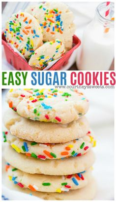 Our easy sugar cookies are simple to make and they can be made to fit any holiday or occasion with some colorful sprinkles. Learn how to make sugar cookies that the whole family can help decorate with sprinkles or sugar cookie icing. White Cake Mix Cookies, Sugar Cookies With Sprinkles, Sprinkles Recipe, Sugar Cookie Icing, Easy Sugar Cookies, Sugar Cookies Recipe, Holiday Desserts, Easy Desserts, Holiday Recipes