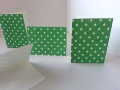 Sets of 4 - Green with White Stars Folded Gift Tags